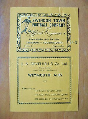 SWINDON TOWN v BOURNEMOUTH 1946/1947 *Good Condition Football Programme*