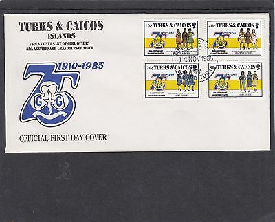 Turks & Caicos 1985 Girl Guides First Day Cover FDC Grand Turk h/s