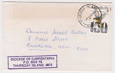 Stamp 30c Diocese of Carpentaria 1984 cover THURSDAY ISLAND Queensland postmark