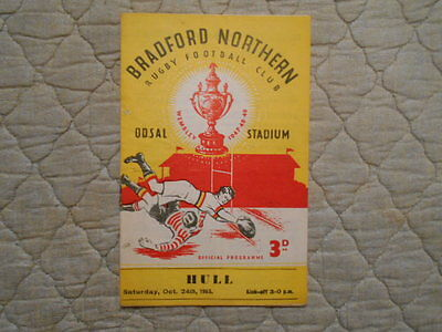 Bradford Northern V Hull Rugby League Match Programme 1953