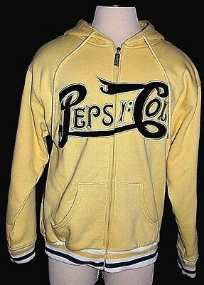 Pepsi Cola XL Yellow Hoodie Sweatshirt Heavy Jacket Embroidered Applique