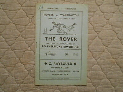 Featherstone V Warrington Rugby League Match Programme 1958