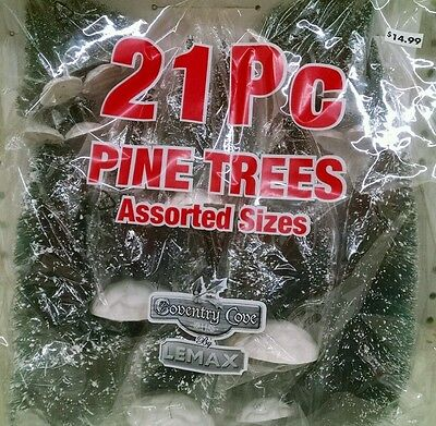 Lemax 21 Pc Set Of Frosted Trees For Christmas Village, Model Ho N O Train Hobby
