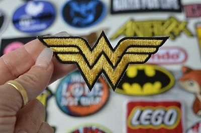 WONDER WOMAN GOLD THREAD Logo W Belt Super Hero Comic Patch Iron/Sew On PatcheS