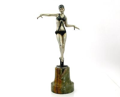 Original Art Deco bronze figure of a 'Bathing Beauty' - Signed  PROF. POERTZEL