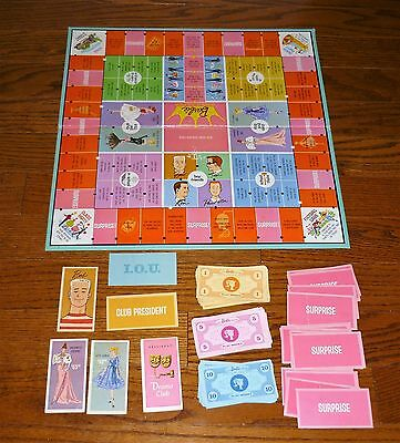 Parts for the 1960 Barbie Queen of the Prom boardgame: Board, money,cards Mattel