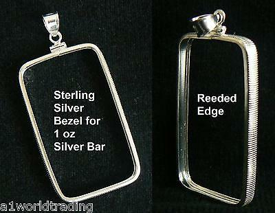 NEW .925 STERLING SILVER BEZEL PENDANT for 1 oz SILVER BAR Fits 27 x 47 mm