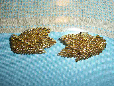 """Vintage Bridal / Evening / Formal Gold Sequins  Beaded Shoe Clips  2 """" Inches"""