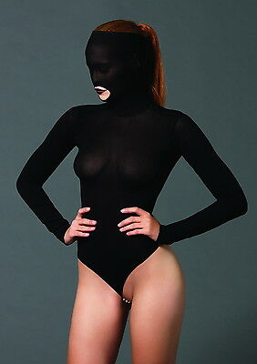 Opaque Women Lingerie Mask Long Sleeve Teddy Open Mouth Stimulate Bead G-String