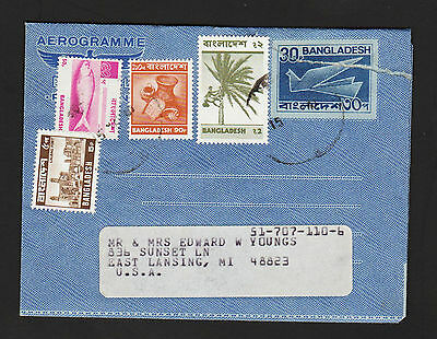OPC 1973 Bangladesh to USA Air Letter aerogramme with better issues