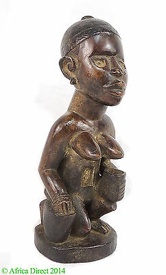 Yombe Female Figure With Bowl Congo African Art