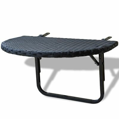Hanging Folding Foldable Balcony Table Worktop Poly Rattan Black Patio Outdoor