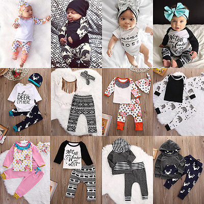 US 3pcs Toddler Newborn Baby Boy Girl T-shirt Tops+Pants Outfits Set Clothes lot