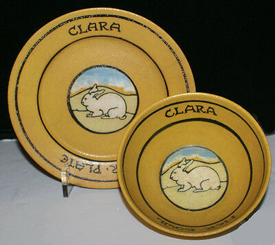Paul Revere Pottery Saturday Evening Girls * Child's Bowl and Plate * For Clara