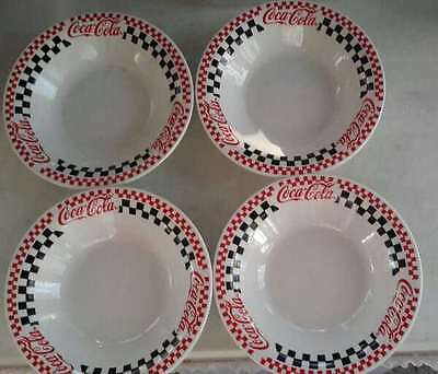 "Lot Of 4 Coca-Cola Checkerboard 8"" Soup Or Salad Bowls Gibson 1996"