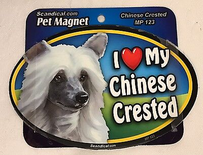 "Scandical I Love My CHINESE CRESTED Dog Laminated Car Pet Magnet 4"" x 6"" MP123"