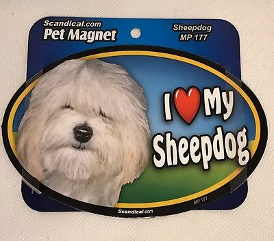 "Scandical I Love My SHEEPDOG Dog Laminated Car Pet Magnet 4"" x 6"" NEW MP177"