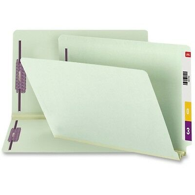 Smead 37715 Gray/Green End Tab Pressboard Fastener File Folders with Safe 37715
