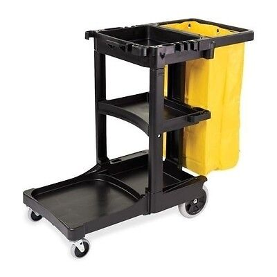 Rubbermaid Cleaning Cart with Zippered Yellow Vinyl Bag 617388BLA