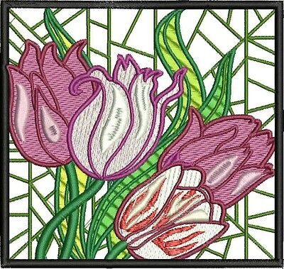 Tulip Blocks 10 Machine Embroidery Designs Cd 2 Sizes