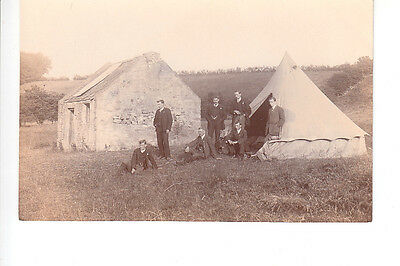 RPPC of gents with bell tent beside ruined house by Gibson, Coldstream