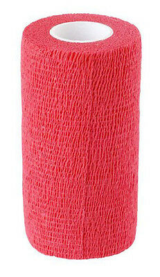 Cohesive Bandages Red 7.5cm x 4.5m - 12 Rolls (Suitable for Horses) **Free P&P**