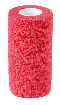 Cohesive Bandages Red 7.5cm x 4.5mtr x 12 (Suitable for Horses) **Free P&P**