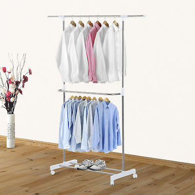 "HOMCOM 38.2""-54.3"" Rolling Clothes Rack Single Garment Dry Hanger Extendable"