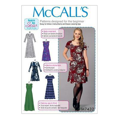 McCALL'S SEWING PATTERN MISSES' PULLOVER DRESSES DRESS SIZE XS - XXL M7432