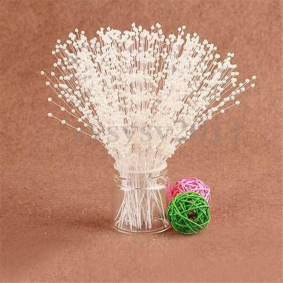 100pcs Bridal Pearl Spray White Beads Wired Stem Wedding Flower Bouquet Craft