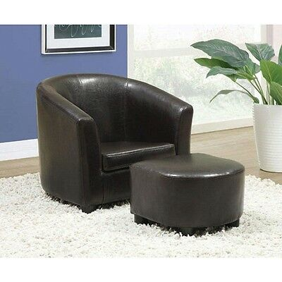 Dark Brown Leather-Look Juvenile Chair / Ottoman 2-Piece Set