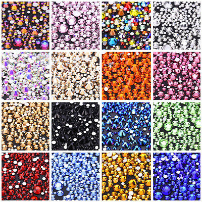 1440pcs SS3-SS20 Crystal Glass Flatback Nail Rhinestones Nail Art Decoration DIY