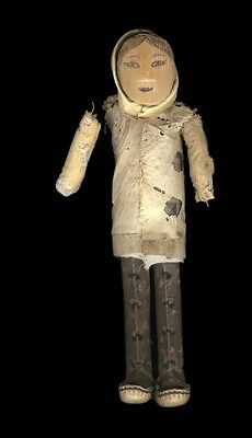 """Early 20th C Inuit Doll Carved Wood Head Cloth Body Painted Features, 8 5/8"""""""