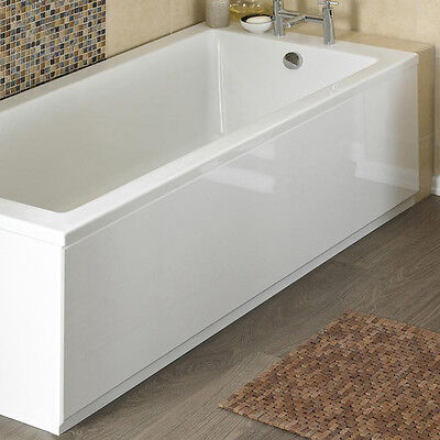 White High Gloss 2 Piece Front Bath Panel & Plinth 1700mm 170cm Adjustable MDF
