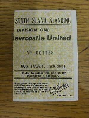 08/11/1975 Ticket: Leeds United v Newcastle United [Ticket Is not Dated Or Print