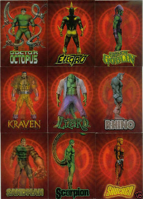 2009 Marvel Spiderman Archives Rogues Gallery Lenticular Chase Trading Card Set