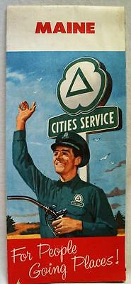 Cities Service Gas Station State Of Maine Highway Road Map 1958 Vintage Travel
