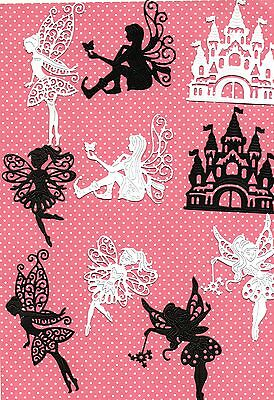 New  Tattered Lace Fairy & Castle Silhouette Die Cuts- Black/ White Jar-Xmas