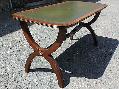 Bevan Funnell Reprodux antique style mahogany gilt tooled leather coffee table