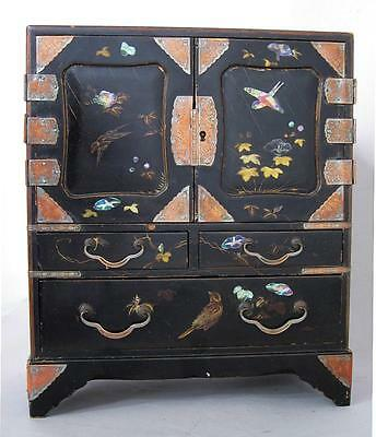 FINE ANTIQUE JAPANESE LACQUERED WOOD TABLE CABINET 1880 MEIJI jewelery box x