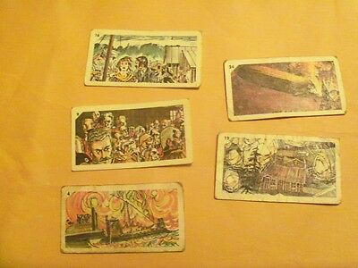 5 Nabisco Earth Shaking Event Cards 1960's  Zeppelin Hindenburg and others