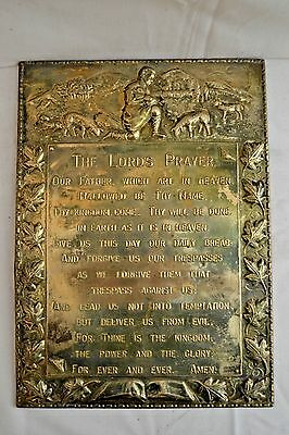 Vintage Brass Lord's Prayer Wall Plaque