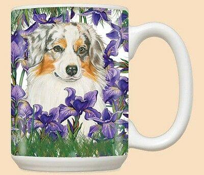 15 oz. Ceramic Mug (PS) - Australian Shepherd Trio MU586