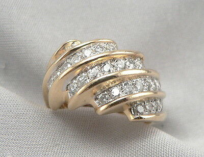 14K Yellow GOLD .87ctw DIAMOND RING 5 Row Wide Band Swirl Ribbed 7.8g Size 7.5