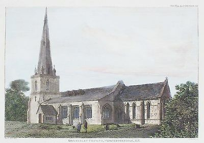 OLD ANTIQUE PRINT OMBERSLEY WORCESTERSHIRE ST ANDREWS CHURCH c1822 ENGRAVING