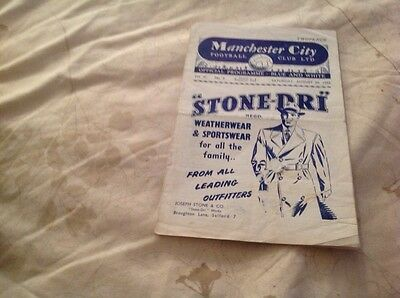 Football Programme Manchester City V Manchester United 1952/53