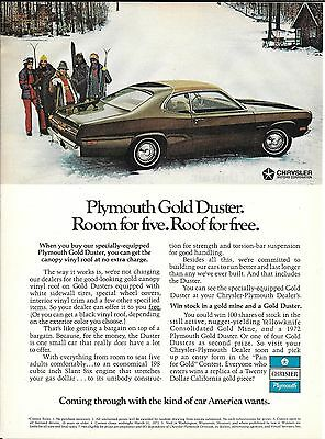 1972 Plymouth Gold Duster Car Skiers Ad