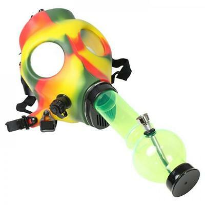 Rasta Mask Water Smoking Pipe Tobacco Bong Small Colourful Mary Jane New Uk