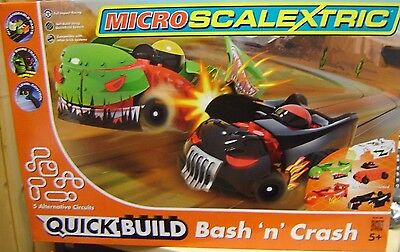 "Micro Scalextric 1:64 G1116 Bas´n´Crash Komplettbahn ""Neu""(AND)"