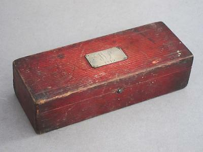 BEAUTIFUL GEORGIAN ANTIQUE RED LEATHER PEN BOX SILVER LABEL DATED 1819 casket